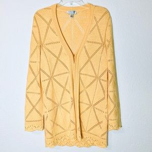 St. John crochet scallop duster cardigan yellow